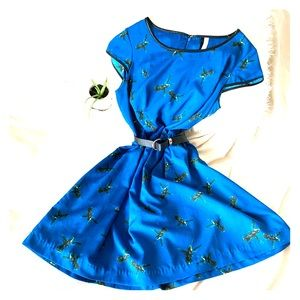 Kensie Blue with Sparrow Print Skater Dress